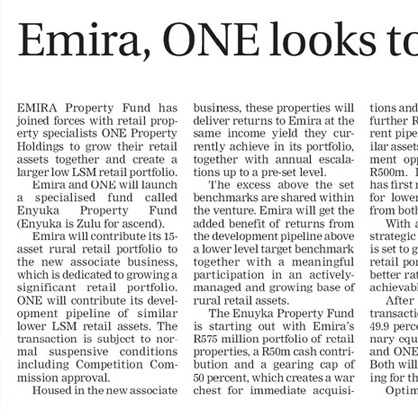 Emira, ONE looks to boost rural retail investments